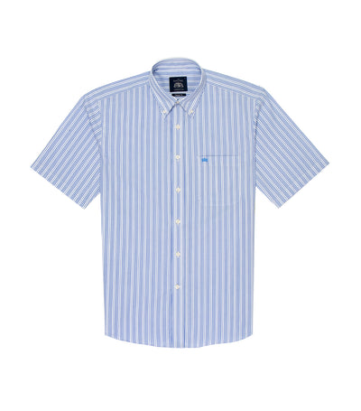 savile row casual short-sleeved stripes button-down shirt blue and white