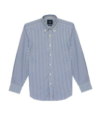 savile row classic long-sleeved stripes button-down shirt blue and yellow