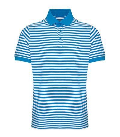 savile row cotton spandex pique stripes polo shirt ocean white