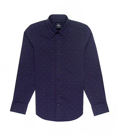 savile row casual long-sleeved button-down shirt navy blue