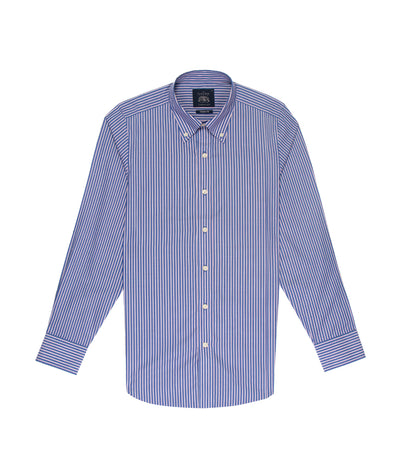 savile row classic long-sleeved stripes button-down shirt blue and red