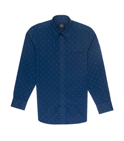 savile row casual long-sleeved button-down shirt dark blue