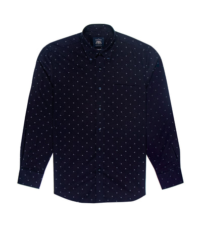 savile row casual long-sleeved button-down shirt navy