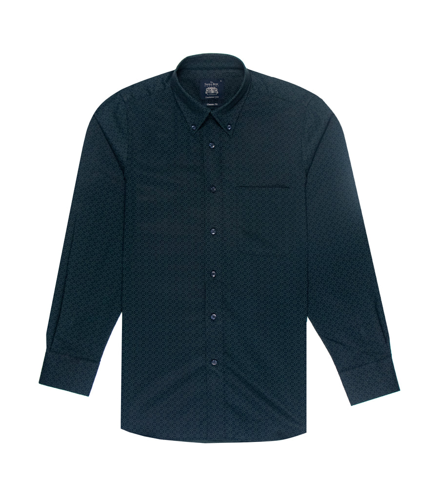 savile row casual long-sleeved printed button-down shirt navy green