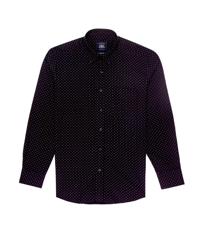 savile row casual long-sleeved printed button-down shirt navy