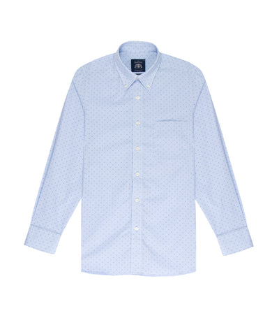 savile row casual long-sleeved button-down shirt blue
