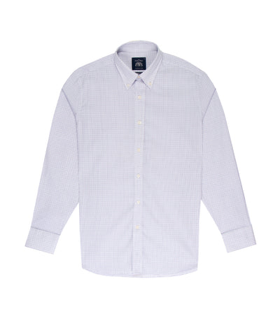 savile row classic long-sleeved fine check button-down shirt blue and white