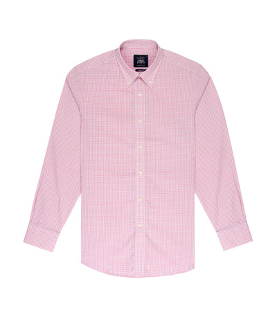 savile row classic long-sleeved fine check button-down shirt peach pink