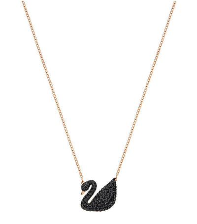swarovski iconic swan black pendant necklace