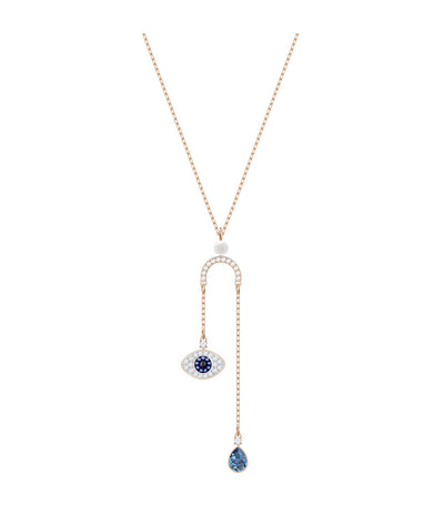 swarovski duo evil eye y necklace