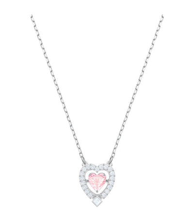 swarovski sparkling dance heart necklace pink