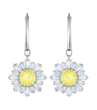 swarovski sunshine rhodium plated white pierced earrings