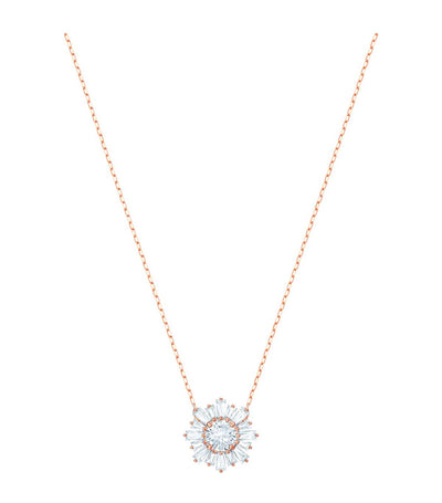 swarovski sunshine rose-gold tone plated white pendant necklace