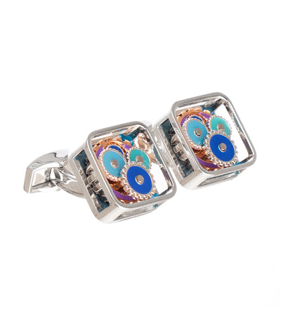 tateossian square gear cufflinks in rhodium