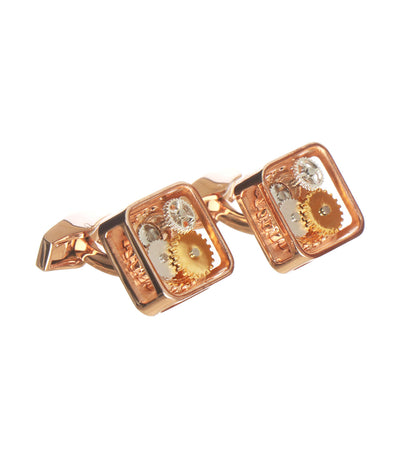 tateossian square gear cufflinks in rose gold