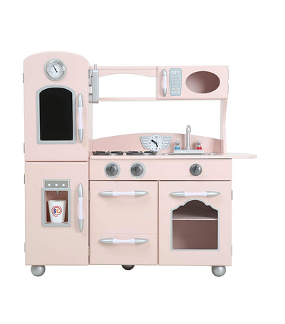 teamson pink little chef westchester retro play kitchen