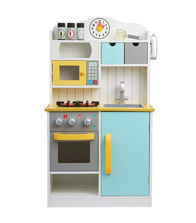 teamson white, green, and yellow little chef florence small play kitchen