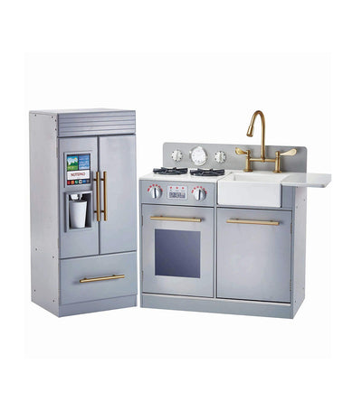 teamson gray and brass little chef chelsea modern play kitchen