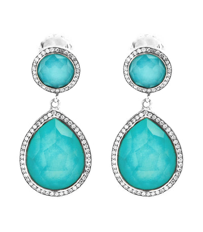 Sterling Silver Stella Two-Stone Drop Earrings in Turquoise Doublet and Diamonds