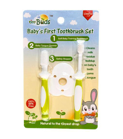tiny buds baby toothbrush and tongue cleaner set
