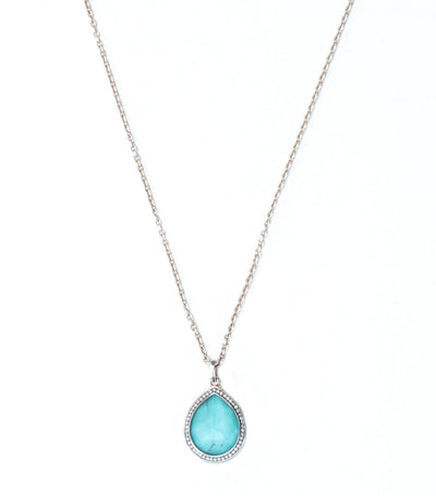 ippolita sterling silver stella teardrop pendant necklace in turquoise over mother of pearl doublet with diamond