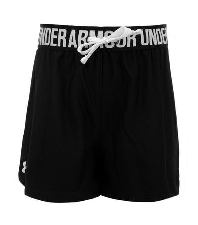 under armour black and white girls play up shorts