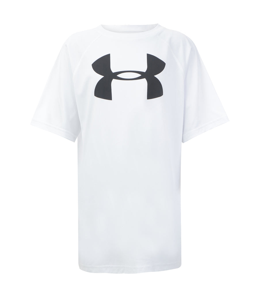 under armour white boys tech big logo short sleeves t-shirt