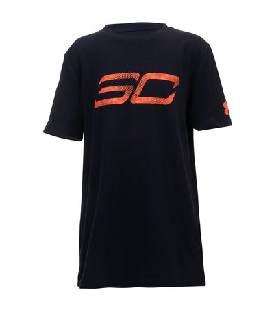 under armour navy and magma orange boys sc30 logo t-shirt