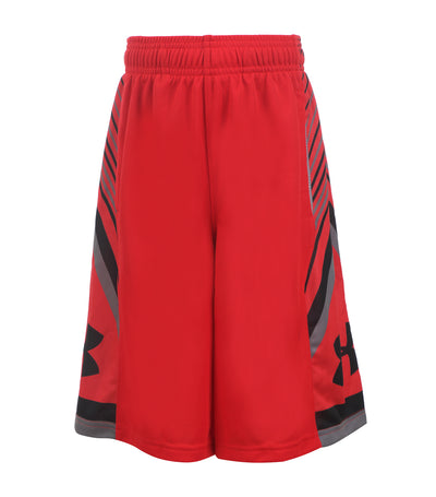under armour red and black boys shorts space the floor