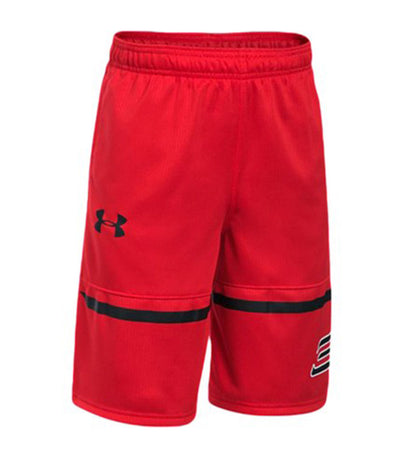 under armour red and black boys sc30 spear shorts