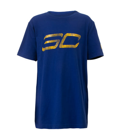 under armour royal blue and taxi yellow boys sc30 logo t-shirt