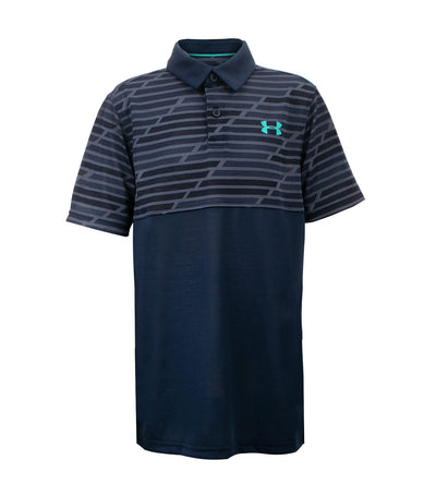 under armour gray boys threadborne blocked polo