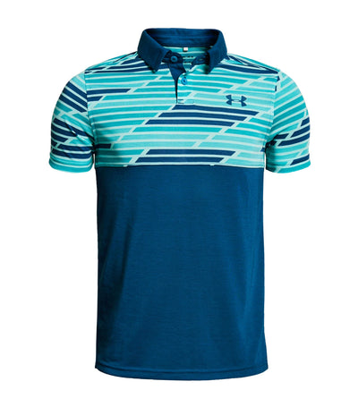 under armour blue boys threadborne blocked polo