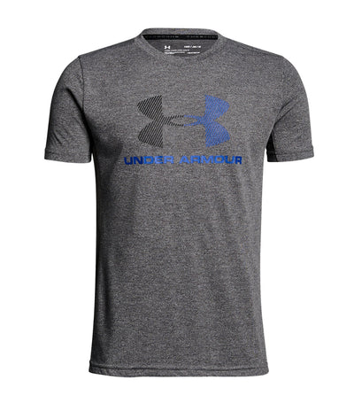 under armour gray boys threadborne tech short sleeves t-shirt