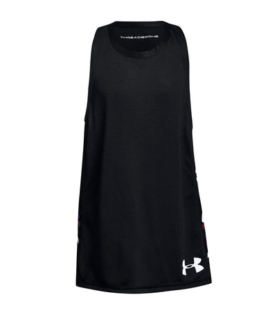 under armour black girls threadborne tank