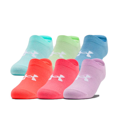 under armour youth essentials no show socks (6-pack) -  blitz red, penta pink
