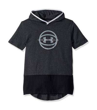 under armour youth short-sleeved hoody baseline - black and white