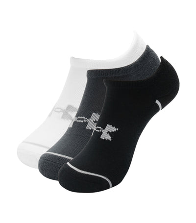 under armour youth phenom no show socks (3-pack) - white, pitch gray, and mod gray