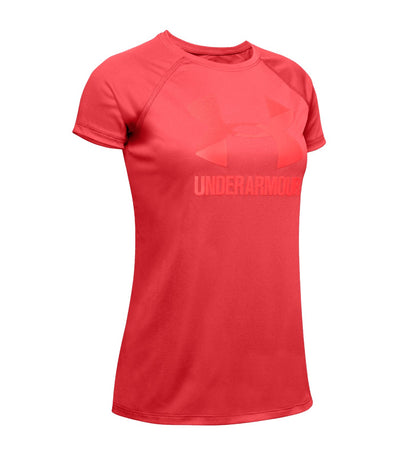 under armour youth big logo solid short sleeve t-shirt - red
