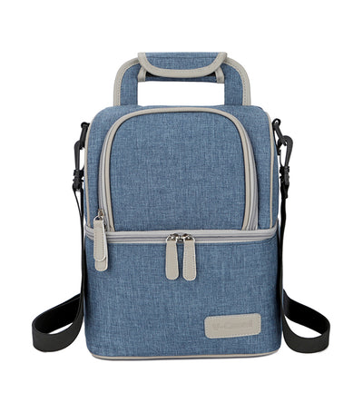 v-coool denim blue breast pump insulated cooler backpack