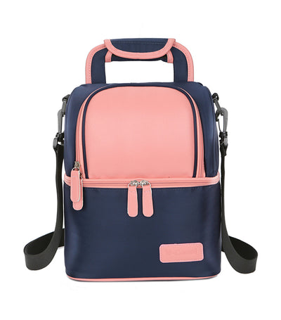v-coool blue and pink breast pump insulated cooler backpack