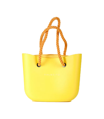 viajecito classic monochrome beach tote bag yellow