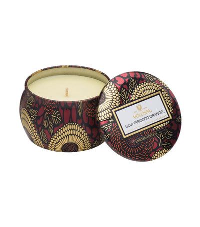 voluspa goji tarocco orange petite decorative tin candle