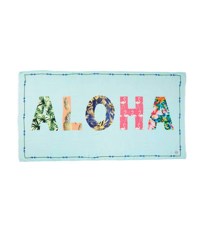 wander by virginia wolf aloha word wrap scarf light blue