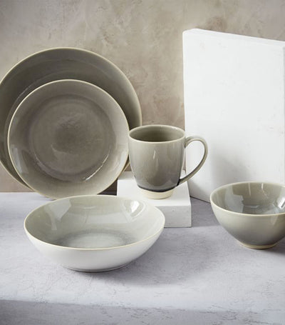 Alta Crackle Glaze Dinnerware Collection - Light Gray