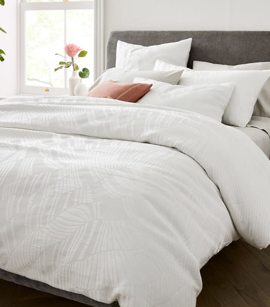 west elm stone white tencel™ and cotton matelasse rippled duvet cover and shams collection