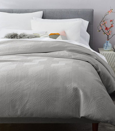 west elm stone gray modern geo duvet cover collection