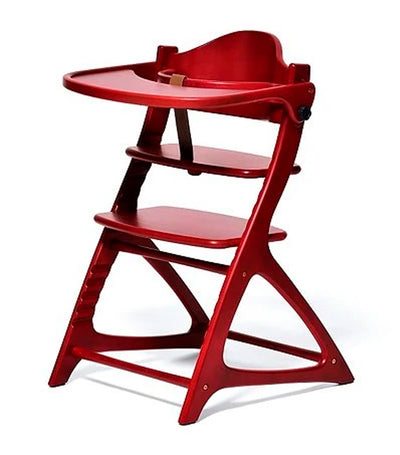 yamatoya wine red materna wooden high chair