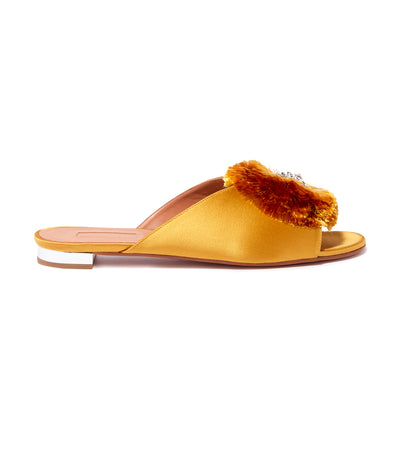 Aquazzura Crystal Lotus Slide Flats Yellow