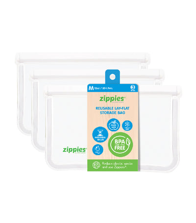 zippies clear lay-flat storage bags - medium (3 bags)